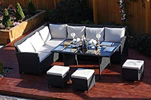 9 Seater Rattan Corner Garden Sofa & Dining Set Furniture Black Brown Dark MixedGrey Outdoor Protective Cover Included (Black With Light Cushions)