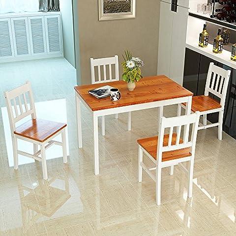 Panana Esstisch Stuhl Set Essgruppe Tischgurppe, Esstischgruppe Sitzgruppe Esszimmergarnitur, 108 x 65 x 73 CM , Tisch und 4 Stühle, Holz - Braun +