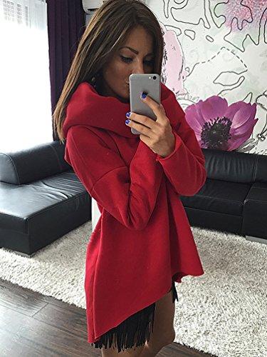 YouPue Femmes Casual Manche Longue Coton Pullover Sweatshirt Tops Chandail Rouge