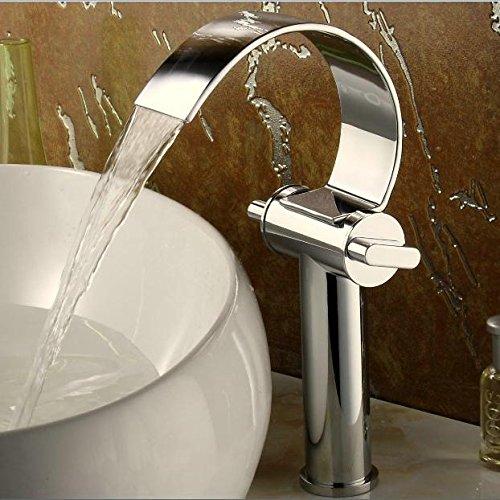Hängenden Wasserfall (ZGB Der ganze Kupfer Tisch auf dem Becken führen zwei Paare von heißen und kalten Wasserfall Wasserhahn kreative Persönlichkeit erhöhen Waschbecken Wasserhahn)