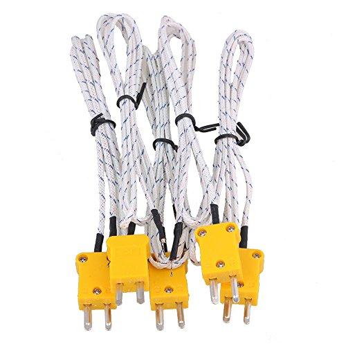 cnbtr Metall 1 Meter K-Type Messen Thermoelement-Sonde Sensoren mit K Typ Mini Stecker Set von 5, weiß -