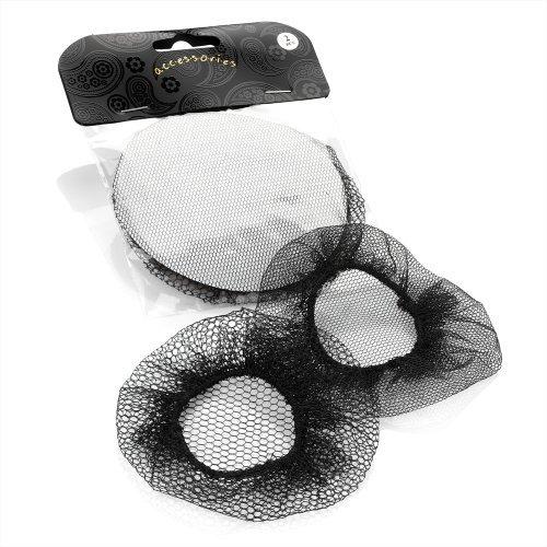 Pair of Black Classic Mesh Bun Hair Nets Set - Dancewear Ballet Bridal Accessories by Pritties Accessories -