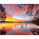 DAMENGXIANG DIY Hand Gemalt Digitale Ölbild Sonnenuntergang Am Meer Gemälde Moderne Abstrakte Kunst Bilder Für Wohnzimmer Home Decor 40 × 50 cm Mit Rahmen