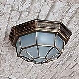 Außendeckenleuchte Milano Goldantik E27 1x MAX 100W Glas Metall Beleuchtung außen Eingang Haus Balkon