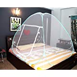 AmazingHind Mosquito Net Double Bed With Base Which Made Up Of White Net, White Polyester Foldable Mosquito Net For Double Bed With Blue Border (Color: White | Size: 200cm X 180Cm)