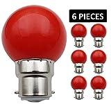 JCKing (Packung mit 6) B22d Golfball Biergartenbeleuchtung Lampen Farbiges Glühbirnen für Terrasse Party Weihnachten - rot