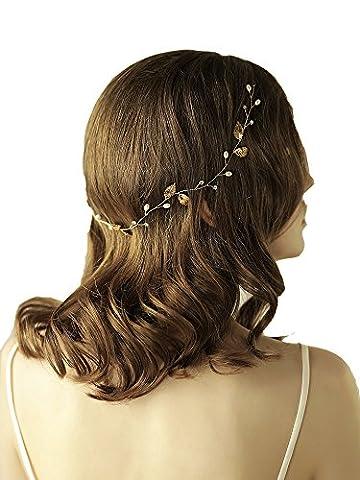 Déesse Feuille d'or Bandeau Tiara–Cristal Perle de mariage Accessoires Cheveux avec ruban