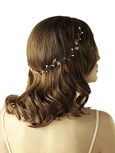 Göttin Blattgold Stirnband Tiara Brautschmuck Hochzeit Perlen Kristall Haar-Accessoires Mit (Ideen Gatsby Girl Kostüm)