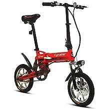 Cyrusher® XF600 Bicicleta Eléctrica Roja 240W 36V Bicicleta de Viaje Bicicleta Batería de Litio Bicicleta Plegable Suspensión Completa Frenos de Disco Doble Compact Plegable Rueda de 14 pulgadas