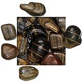 5 kg Polierter Kiesel Glanzkies Flusskiesel Kieselsteine Ziersteine Gartenkies Zierkies gestreift Körnung 30/50 mm