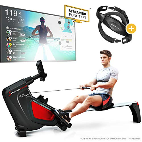 Sportstech RSX500 Rowing Machine - German Quality Brand - Video Events & Multiplayer APP - incl. heart rate monitor (worth: £39,90) 16 programs - magnetic resistance - competition mode - foldable