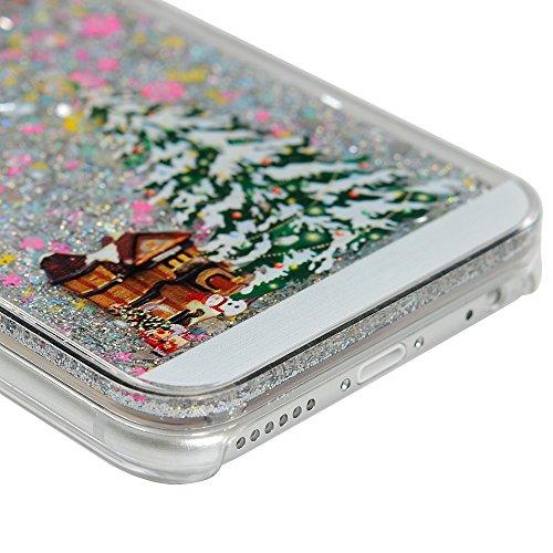 Badalink Handy Tasche iPhone 6 Hülle für iPhone 6s Case Cover Handycase PC Hardcase Harte Hülle Cover Transparente Schutzhülle mit Weihnachten Treibsand Pink Rosa Muster Design Image Print + 1x Staub  Farbe Sterne