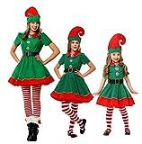 JOMA E-Shop Damen Mädchen Weihnachten Elfenkostüm, Kostüm, Mütze, Socken und Handgelenkgürtel