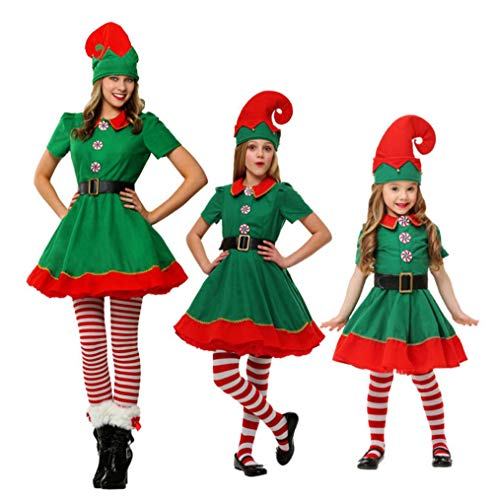 JOMA E-Shop Donne Girls Christmas Fancy Dress–Costume da Elfo, Cappello, Calzini e Cinghia da Polso
