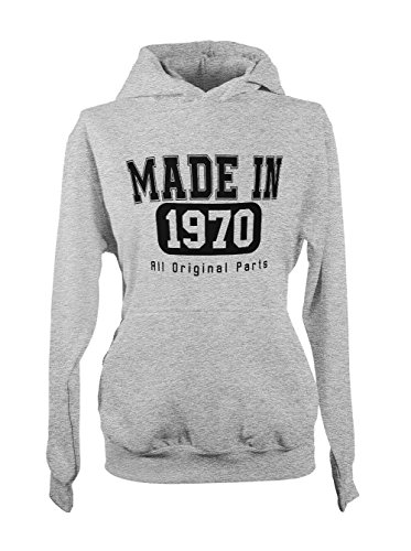 Made In 1970 All Original Parts Birthday Cool Amusant Gift Femme Capuche Sweatshirt Gris