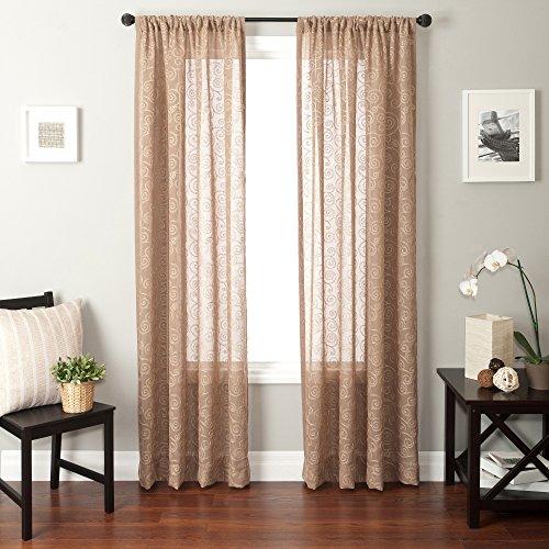 Softline Home Fashions bestickt Fenster Sheer/Panel/Vorhang/Behandlung/Fall mit Kette genäht Design mit Rod Tasche in Mandel, almond, 55 Inches x 96 Inches