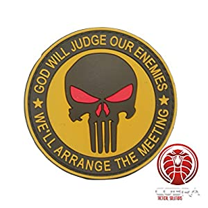 Cobra Tactical Solutions God Will Judges Our Enemies We'll arrange the meeting 3D PVC Marron Punisher Patch avec sa lanière Hook & Loop pour airsoft/paintball pour Sac à Dos Tactique, Vêtements