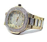Orologio da uomo placcato oro finto diamante Techno ultra Bling HipHop Bling