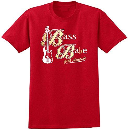 Bass Guitar Bass Babe Attitude 2 - Red Rot T Shirt Größe 87cm 36in Small MusicaliTee (Shubb Capo Für Akustik-gitarre)