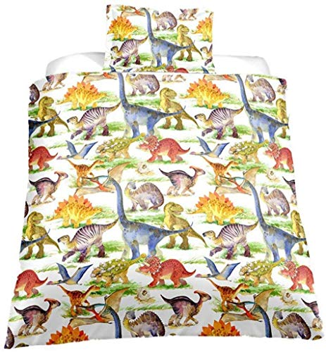 Loussiesd Kinder Kids Betten Set Cartoon Dinosaurier Muster Bettwäsche Set für Jungen Mädchen Microfaser Himmlische Qualität Bettbezug mit 1 Kissenbezug 2 teilig 135x200 cm + 80x80 cm Einzelbett Dino