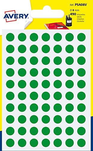 Avery psa08V Schutzhülle de 490Pastilles Durchmesser 8mm A6grün (Tischkarten Avery)