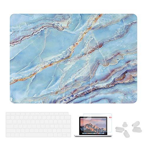 Utryit Schutzhülle für MacBook Air 13 (A1369 & A1466, ältere Version 2010-2017, Marmor-Hartschale, Tastatur-Abdeckung und Displayschutzfolie für MacBook Air 13 PJH-011 (2013-tastatur-abdeckung Macbook Air)