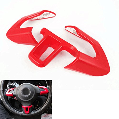 Duspper - 3X Chrome Red Steering Wheel Cover Trim Unique Car Styling Sticker Fit For VW