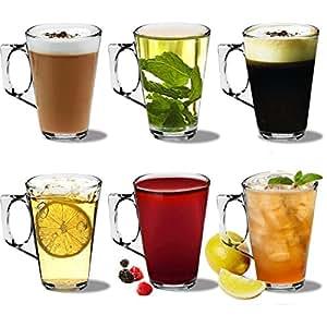 Verres à thé/café/latte double paroi - avec poignée - 285 ml - 250 ml - coffret cadeau de 6 verres