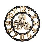 LLH-Wanduhren Kreativer runder stummer Retro Zahnrad-Digital-Wanduhr-industrieller Wind-Dekoration-Wohnzimmer-Schlafzimmer-Stab (16/18/20 / 22in) (40/46/50 / 56cm) Gold Wanddekoration