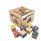 #10: Generic ABC 123 Wooden Blocks Letters Numbers with Box Storage Case, Wooden (27 Pieces)