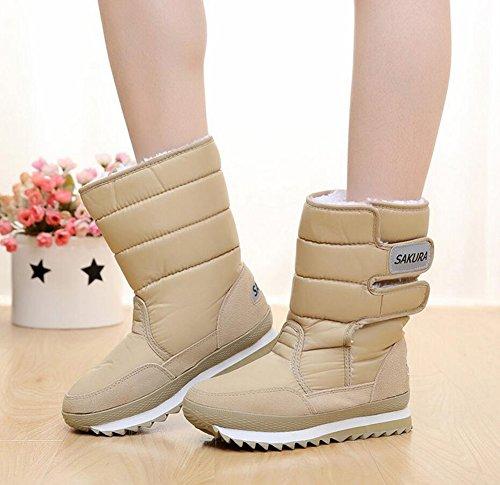 JOYORUN Damen Warm gefütterte Schneestiefel Mädchen Schuhe wasserdicht Boots Sneaker Khaki