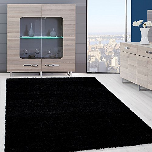 Einfarbig Shaggy Teppiche OEKOTEX Zertifizierte Schwarz Rot Beige Mocca Cream Pink Verschiedene Farben Und Grosse 9000 FarbeSchwarz