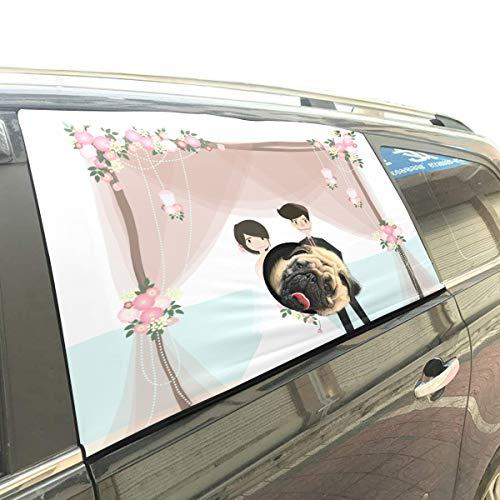 Rtosd Glückliche schöne Hochzeit Faltbare pet Hund Sicherheit Auto gedruckt Fenster Zaun Vorhang barrieren Schutz für Baby Kid einstellbar Flexible Sonnenschutz Abdeckung universal fit für SUV