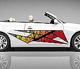 2x Seitendekor 3D Autoaufkleber Muster abstrakt orange Digitaldruck Seite Auto Tuning bunt Aufkleber Seitenstreifen Airbrush Racing Autofolie Car Wrapping Tribal Seitentribal CW200, Größe Seiten LxB:ca. 80x20cm