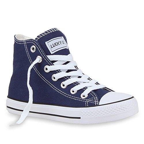 Große Hohe Activewear (Stiefelparadies Damen High Top Sneakers Sportschuhe Kult Schnürer 26853 Dunkelblau Ambler 43 Flandell)