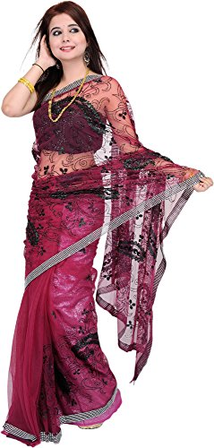 Exotic India Shimmer Saree with Sequins and Crewel Embroidery All-Over - Color...