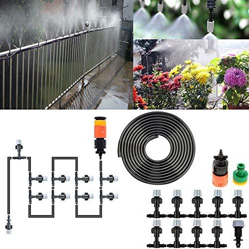 Rebeca Shop Tubo Nebulizzatore acqua per uso esterno con 10 ugelli e gomma lunga 10 metri per uso esterno pergolati, gazebo, ventilatori, terrazze, balconi, giardini
