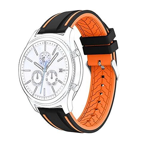 Bracelet de montre Huaforcity Super Doux en caoutchouc de silicone étanche Montre-bracelet Sangle de bande de rechange double face Motif/couleur pour Samsung Gear S7Classic/Frontier (ne pas Inclure connecteur/printemps pins), black+orange