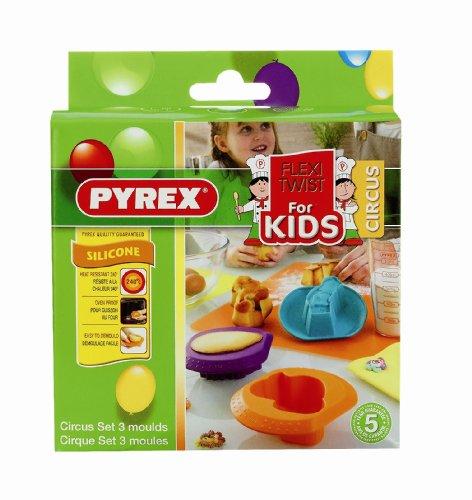 Pyrex 4936939 S3 Kinder-Backform Flexi Twist, Zirkusmotive, Grün/Orange/Violett