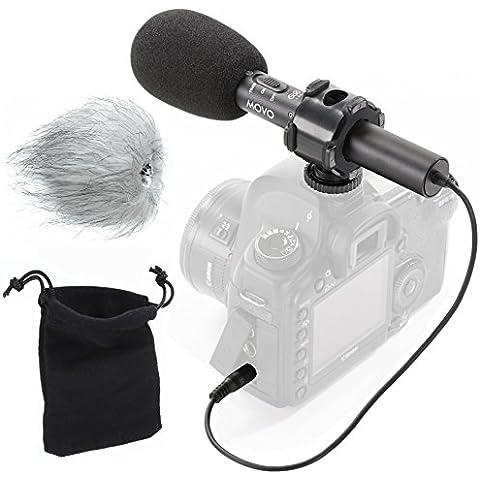 Movo VXR70 X/Y video microfono stereo a condensatore con attenuazione -10dB, protezioni antivento in spugna/pelo e custodia, per fotocamere DSLR e videocamere portatili
