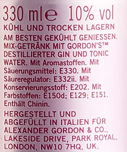 Gordon\'s Premium Pink Distilled Gin & Tonic Water Mix-Getränk, EINWEG (12 x 0.33 l)