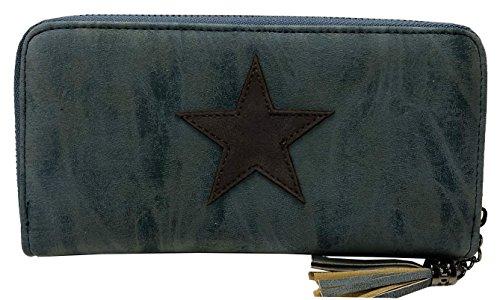 Geldbörse Star Portemonnaie aufgenäht Stern Damen Luxus Fashion Brieftasche mit Reißverschluss (Blau, L 20x11 cm) (Mit Reißverschluss Brieftasche Blaue)