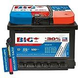 Autobatterie 12 V / 55 Ah - 500 A/EN Silber +30% Ca/Ca PKW + Werkstattlampe
