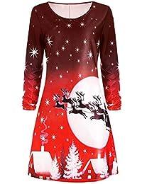 Damen Elegant Abendkleid Retro Ballkleid Weihnachten Partykleid Langarm  Knielang Frauen Druck Grosse Grössen Cocktailkleid Rockabilly Minikleid 159788ac12