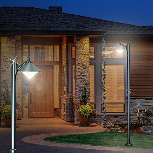 MIA Light Kandelaber Leuchte ↥2200mm/ Modern/Schwarz/Alu/AUSSEN Mast Strassen Lampe Aussenlampe Aussenleuchte Gartenlampe Gartenleuchte Mastlampe Mastleuchte Wegelampe Wegeleuchte (Schwarze Kandelaber Lampe)