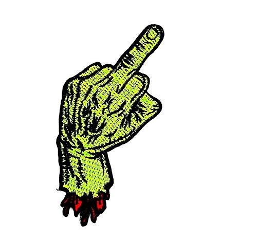 inger Hand Schild Biker Punk Rock Halloween Biker Motorrad Patch für Heimwerker-Applikation Eisen auf Patch T Shirt Patch Sew Iron on gesticktes Badge Schild Kostüm (Mittelfinger Halloween Kostüm)
