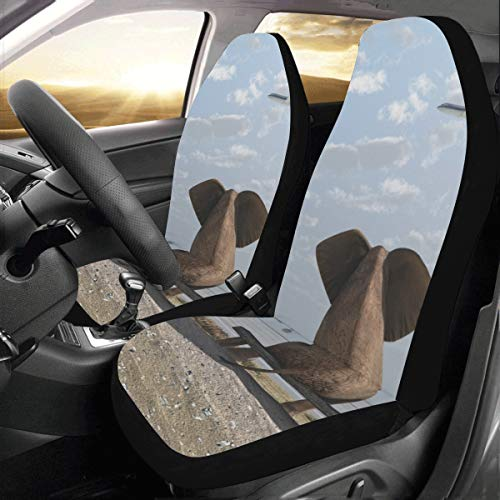 Fundas de asiento de coche Un lindo bebé elefante flotante Universal Fit Auto Fundas de asiento de coche Protector para auto camión Suv Vehículo Mujer Señora (2 delanteras) Fundas de asiento colorid