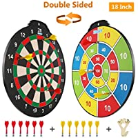 Esjay Magnetic Dart Board Set, Safe Dart Game for Kids, Best Boy Toys Gift Indoor Outdoor Game with 12 Darts, Double Sided 18 inch Large Size Dartboard
