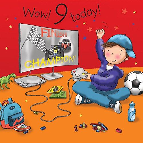 Twizler Geburtstagskarte zum 9. Geburtstag für Jungen mit Playstation - Neujahr alt - 9 Jahre - Kindergeburtstagskarte - Jungen-Geburtstagskarte - Happy Birthday Karte