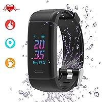 Montre Connectée, Leestar IP67 étanche Couleur Montre Cardio Podometre Fitness Smartwatch Bracelet Cardiofréquencemètre /sommeil Analyse/compteur de calories/SMS/Activité Tracker Podomètre pour Android IOS, Noir